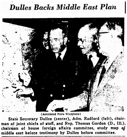 Dulles Backs Middle East Plan