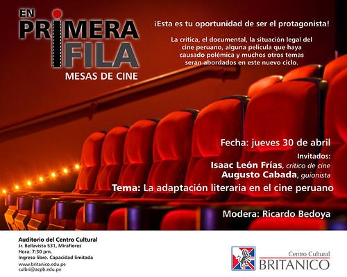 """""""En Primera Fila"""", charlas de cine"""
