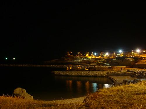 porto torres, lungomare di notte.