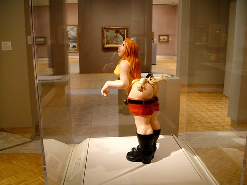 R. Crumb sculpture in a case at the Elvehem Museum