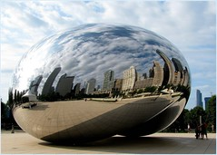 "Chicago's ""Cloud Gate"" (Kurlylox1) Tags: blue sky sculpture skyline clouds buildings reflections skyscrapers bean publicart millenniumpark cloudgate anishkapoor mywinners abigfave"