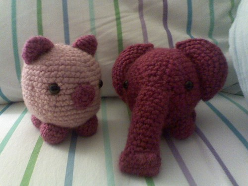 Amigurumi Pig and Elephant