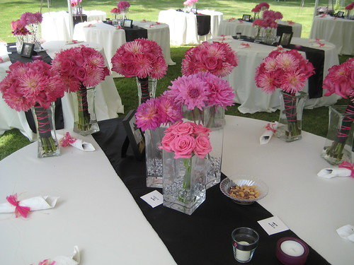 Bridesmaids bouquets and centerpieces of dahlias roses and pink hydrangea