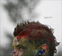 paint fight (B R A N D) Tags: blue red portrait chicago man male men canon 50mm illinois fight paint bokeh hawk f14 brand mrbluesky thechallengefactory 2009 krisbrand krisbrandon kristoferbrand