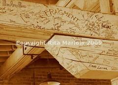 Graffitti (ritamarlow) Tags: sepia ceiling graffitti beams oldbuilding
