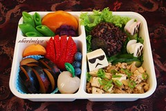 Star Wars Bento #1 (sherimiya ) Tags: school food fruits lunch starwars kid strawberry sweet plum potato onigiri stormtrooper bento deathstar cucumbers lychee obento peapods tiefighters firstgrader mapatofu okinawanpurplepotato sherimiya