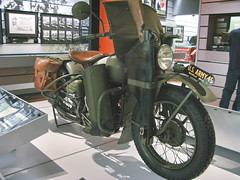 US Army WW2 Harley-Davidson motorcycle with rifle