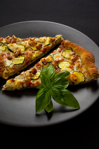 Zucchini Walnut Goat Cheese Pizza