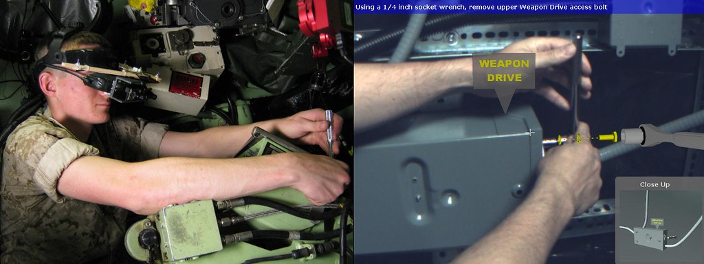 (Left) A mechanic wearing a tracked head-worn display performs a maintenance task inside an LAV-25A1 armored personnel carrier. (Right) The AR condition in the study: A view through the head-worn display captured in a similar domain depicts information pro