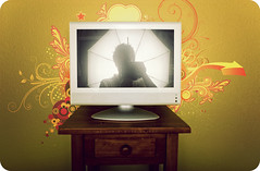 The Sun Always Shines on T.V. (isayx3) Tags: portrait television wall umbrella self design tv nikon graphic w