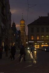 Walking home from work (Pavel Vanik) Tags: city canon eos evening synagogue pilsen handheld czechrepublic plzen bohemia 30d 70300is fiatlux