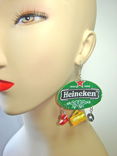 Heineken Earrings recycled from aluminum cans ~ 4 of 5 photos