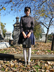 20 something in the 40 somethings. (Starr Crow) Tags: blue green fall girl hat leaves yellow coach veil dress boots headstone cemetary 1940 navy suit jacket purse target goodwill tweed sheer ruffle forever21 peterpancollar ankleboots