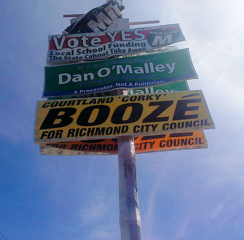 Six months after the election, these faded and tattered campaign signs still stand on San Pablo Avenue near the Richmond Parkway. It might be time for the responsible campaign organizations to consider taking them down.