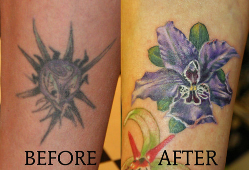 Cover up - orchid flower tattoo by Mirek ve Stotker