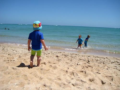 my three sons on the beach