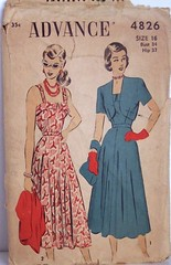 Vintage Advance Pattern UNCUT and FACTORY FOLDED 4826 Sundress and Bolero 40s Dress Size 16 Bust 34 Waist 28 Hip 37 (Sassy By Design) Tags: she vintage flickr pattern dress sewing scallops womens cast etsy advance sundress 40s bolero sewingpattern size16 bust34 sassybydesign waist28 hip37 advance4826