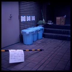 Side Street Trash (gullevek) Tags: door 6x6 sign japan wall trash writing geotagged iso100 tokyo fuji 日本 東京 銀座 expired expiredfilm 中央区 ゴミ rolleiflex28c epsongtx900 geo:lon=139763989 geo:lat=35668419 fujimultispeed1001000