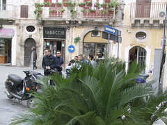 Bikers in front of Hotel Roma