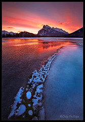 Mount Rundle Sunrise#2 (Chip Phillips) Tags: park pink blue winter red lake canada mountains ice yellow sunrise frozen lakes rocky mount national alberta banff vermillion rundle vosplusbellesphotos