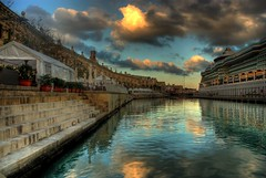 On the Waterfront (Andrew.gd) Tags: cruise light sea seascape reflection clouds d50 boat nikon ship waterfront steps malta nikond50 explore maltese hdr valletta flickristi flickristiselect