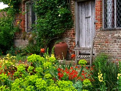 Outside the South Cottage at Sissinghurst Castle Garden in Kent, England (UGArdener) Tags: england english sissinghurst kent spring unitedkingdom britain may euphorbia nationaltrust doorways springtime drizzle verbascum wallflowers englishgardens cottagegardens favoritegarden southcottage englishtravel