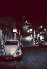 The Empty Streets (Andre Bohrer) Tags: brazil cars riodejaneiro night dark lights nikon streetlights empty beetle buggies textured novafriburgo d40 bareness photoshopcs3