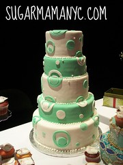 Five Tiered Dot Cake (Sugar Mama NYC) Tags: wedding white green geometric cake circles michelle dots six fondant tiered duquesnay sugarmamatreatscom