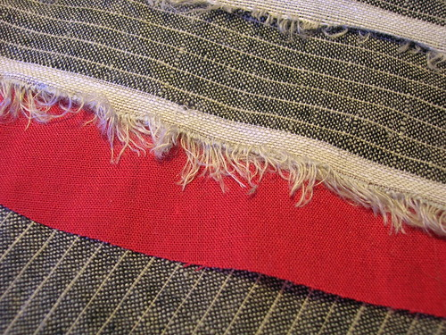 A 100% linen for a jacket, scarlet batiste for underlining.