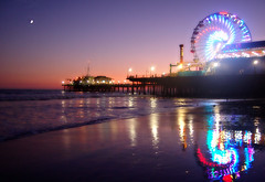 i am still living with your ghost, lonely and dreaming of the west coast (red.dahlia) Tags: ocean california sunset reflection losangeles pacific santamonica nikond50 ferriswheel bluehour santamonicabeach crescentmoon vob flickr64challenge titlebyeverclear songsantamonica thepieronsantamonicabeach f64g6r3win
