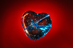 2 - If Your Glass Heart Should Crack (Chris O'Brien - Ellipsis-Imagery) Tags: longexposure blue red 2 macro glass backlight canon lyrics heart crack flashlight 40d lyricalimagery lyricalimageryproject