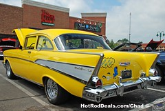 1957 Chevy Bel Air (Chad Horwedel) Tags: classic chevrolet belair car yellow illinois woodridge chevy tiltedkilt chevroletbelair chevybelair 1957chevybelair