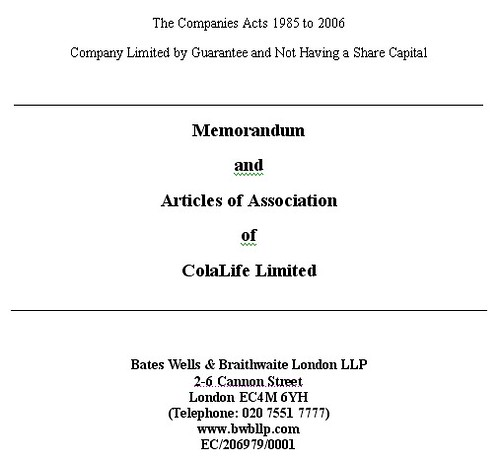 Memorandum and Articles of Association - ColalIfe
