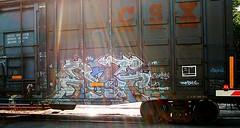 Frenze (mightyquinninwky) Tags: railroad 2002 graffiti virginia crossing tag graf railway tags tagged railcar 02 va mp graff graphiti cps railroadcrossing trainart rollingstock paintedtrain crossingarm ebt spraypaintart reflectivetape movingart skumbags warninglights taggedtrain railroadart frenze wafflecar paintedrailcar taggedrailcar