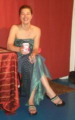 Claire Enjoying a Cup of Tea (smaginnis11565) Tags: nyc newyorkcity breakfast manhattan midtown performanceart chashama west44thstreet englishwoman claireelizabethbarratt shrinewhatdoyouworship