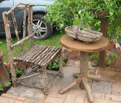 SOGS Flower Show allotment/garden (wonky knee) Tags: rustic shrewsbury patio homemade organic recycling allotment 2009 composting raisedbeds bodging quarrypark shrewsburyflowershow trug rustictable rusticchair shropshireorganicgardeners show2009