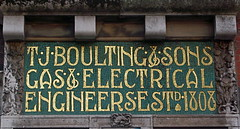 Mosaic Warehouse Sign (Thorskegga) Tags: street old england house london art english sign stone carved industrial factory mosaic decorative decoration victorian warehouse riding british lettering script trade