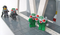 """Great... I fuckin hate it when it's one of them and one of us..."" (S.L.Y) Tags: lego xenophobia racialprofiling squidman spacepolice"