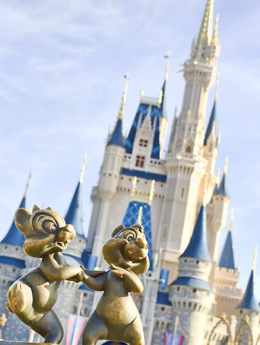 Chip and Dale statue in front of Cinderella's Castle