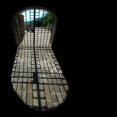 The gate (Nespyxel) Tags: light shadow black dark outside design gate ombra perspective projection shade inside luce cancello prospettiva grata proiezione challengeyouwinner homersiliad nespyxel stefanoscarselli castellodifrontone
