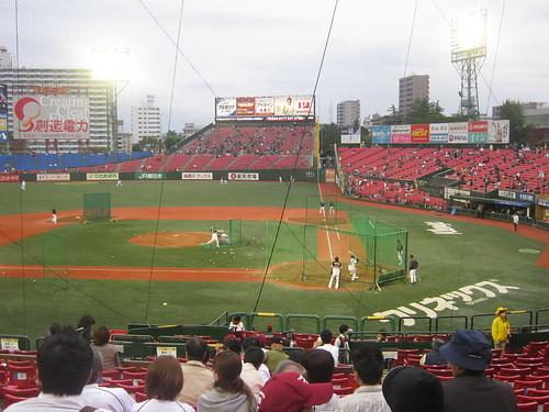 Batting Practice at Kleenex Stadium Miyagi