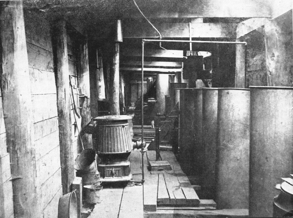 1891 – 1892.  Earlier view of Filter Gallery.  Galvanized iron tanks on right may have been used for sludge digestion studies.  (Note tanks #10 and #19.)