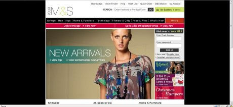 M&S old homepage
