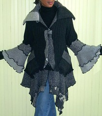 Charcoal and Tweed Grey Sweater Coat, (brendaabdullah) Tags: fashion diy recycled sweaters handmade oneofakind jacket mohair wearableart etsy textileart ecofriendly salvaged pieced upcycle upcycled machinepieced diyfashion recycledsweaters sustainablestyle indiefashion restyled ecoconscious sweatercoats reclaimedsweaters brendaabdullah