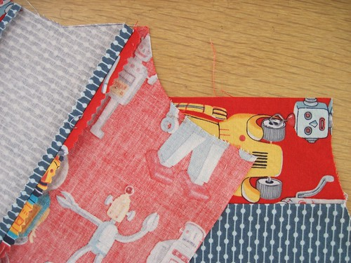 Western-style yoked shirt with retro front panels; the red fabric is Ready Set Robot fabric (Alexander Henry).