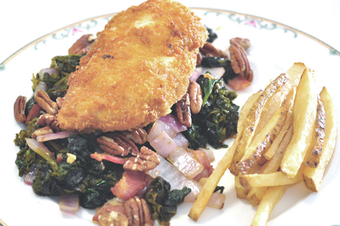 chicken breast, spinach and mustard greens