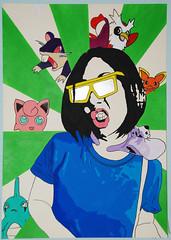 Gotta Catch 'Em All (id-iom) Tags: uk urban green london art girl sunglasses animals japan graffiti acrylic tshirt vandalism pokemon catch creatures brixton gotta idiom
