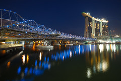 Marina Bay Sands and Bayfront Bridge (kazeeee) Tags: bridge las vegas marina photoshop ir bay singapore casino double helix sands resorts integrated bayfront the cs5