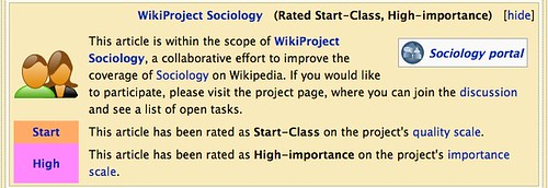 Screenshot: WikiProject Sociology (Rated B-Class, High-importance)