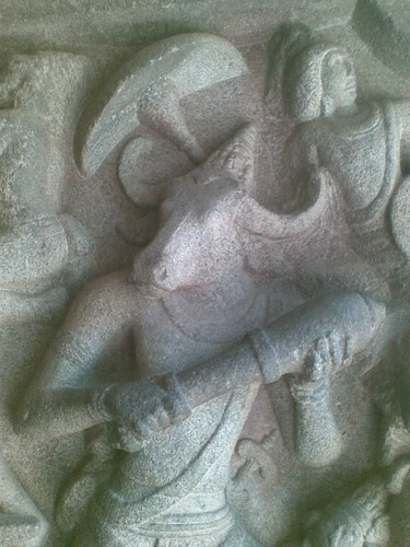 Mahishasura in close-up. Mahishasuramardini Mandapam, Mamallapuram